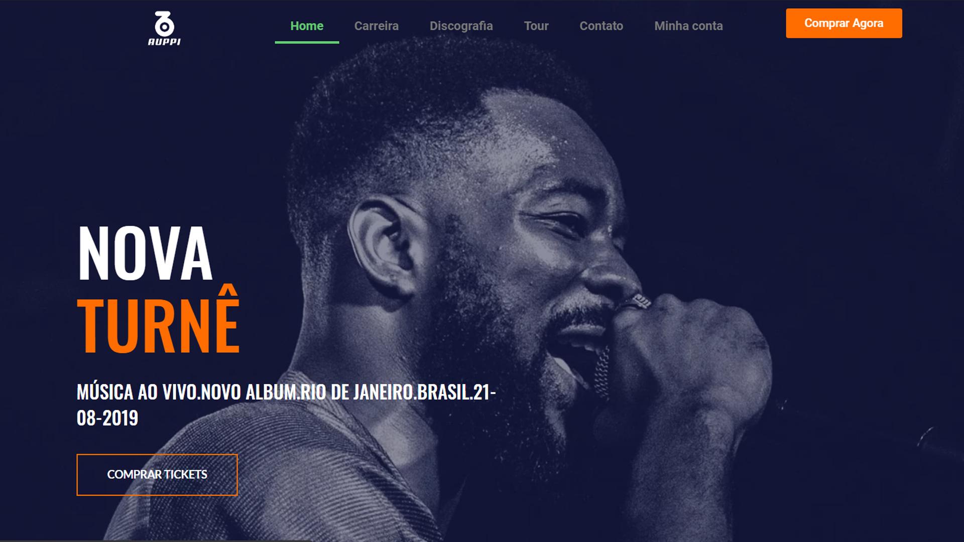 portfolio criação de sites modelo musico