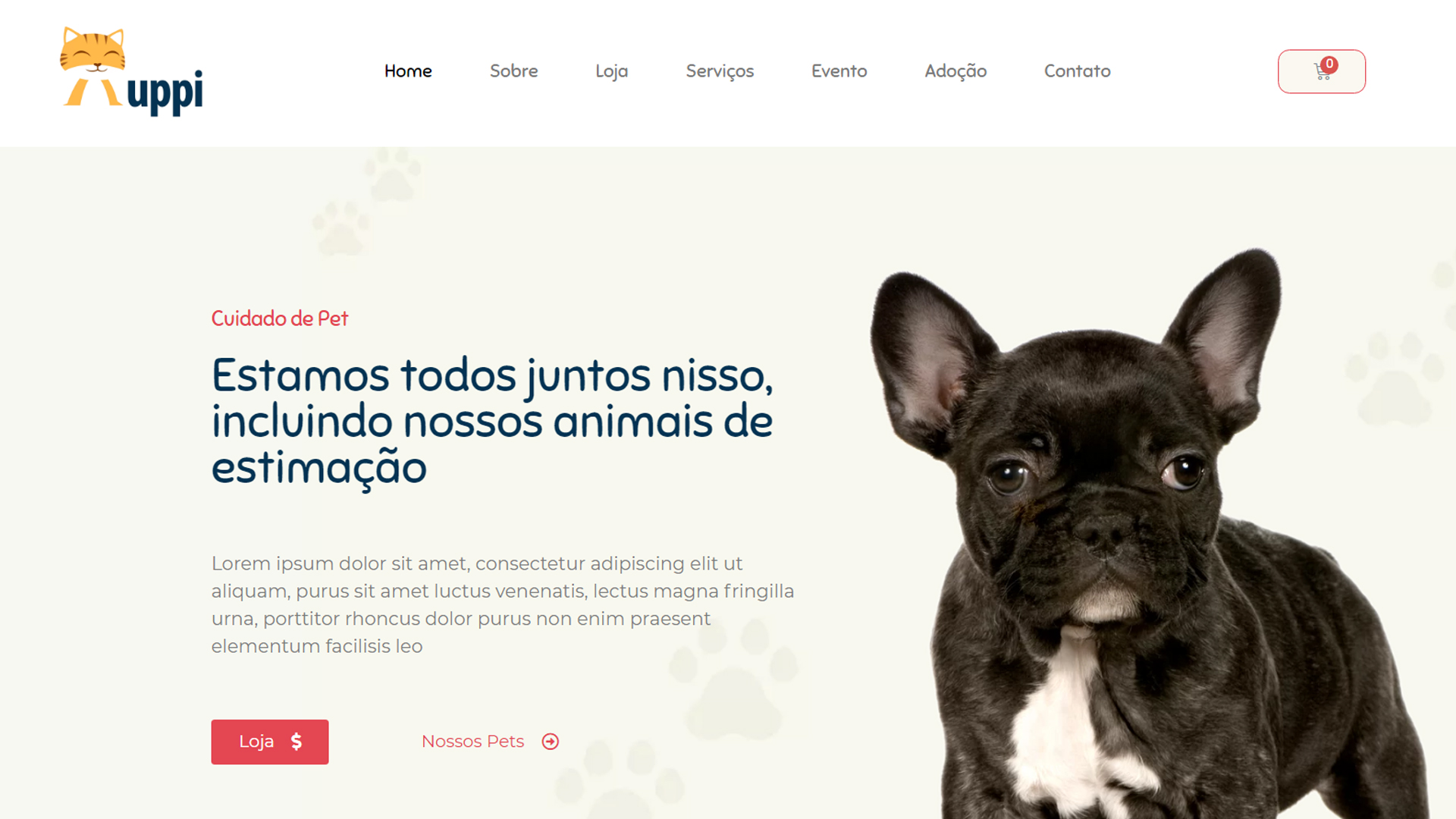 portfolio criação de sites modelo petshop