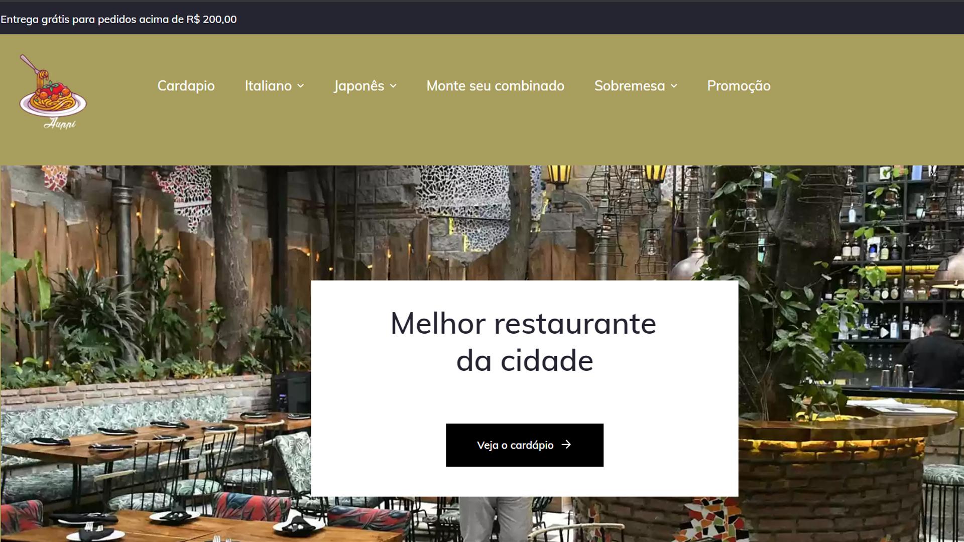 portfolio criação de sites modelo restaurante